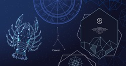 Zodiac sign Cancer. The symbol of the astrological horoscope. Horizontal banner. Template for postcard, brochure, page, booklet.