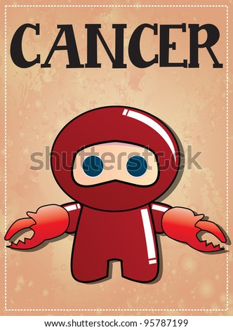 Zodiac sign Cancer with cute black ninja character, vector