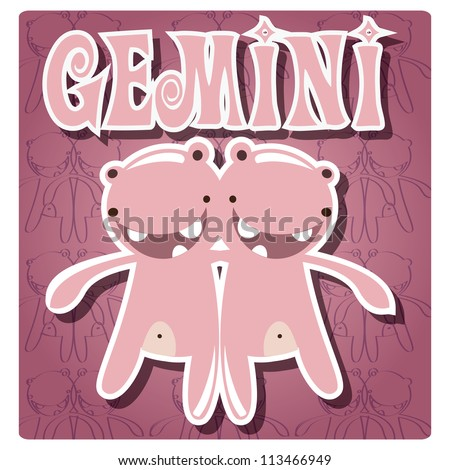 Zodiac sign Gemini  with cute colorful monster, vector