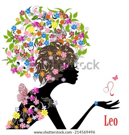 Zodiac sign leo. fashion girl