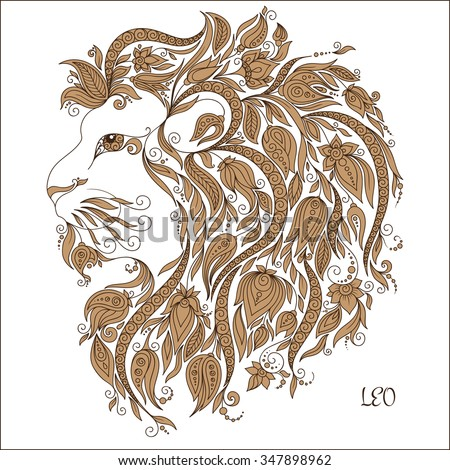 zodiac sign   leo hand drawn