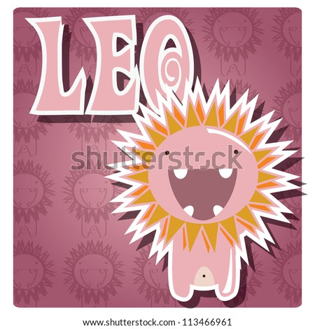 Zodiac sign Leo with cute colorful monster, vector