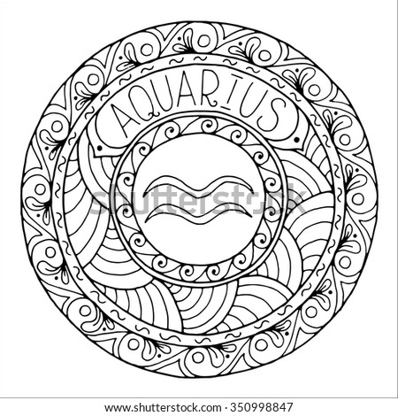 Zodiac Sign Of Aquarius And Constellation In Mandala With
