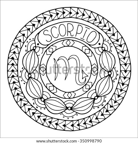 Zodiac Sign Of Scorpio And Constellation In Mandala With