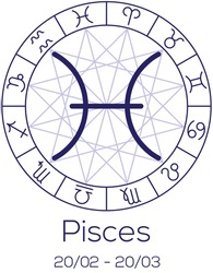 Zodiac sign - Pisces. Astrological chart with symbols in wheel with polygonal background. Deep blue color with caption and dates. Vector illustration.