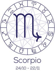 Zodiac sign - Scorpio. Astrological chart with symbols in wheel with polygonal background. Deep blue color with caption and dates. Vector illustration.