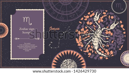 Zodiac sign Scorpio. The symbol of the astrological horoscope. Hand-drawn illustration. Horizontal banner. Template for postcard, brochure, page, booklet.