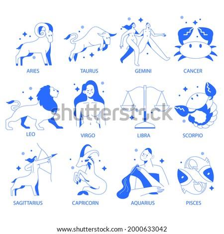 Zodiac sign set. Astrology symbol icon. Horoscope zodiac constellation - aries, taurus, gemini, cancer, lion, virgo, libra, scorpion, sagittarius, capricorn, aquarius, pisces. Vector illustration.