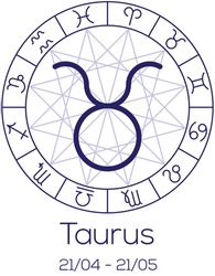 Zodiac sign - Taurus. Astrological chart with symbols in wheel with polygonal background. Deep blue color with caption and dates. Vector illustration.