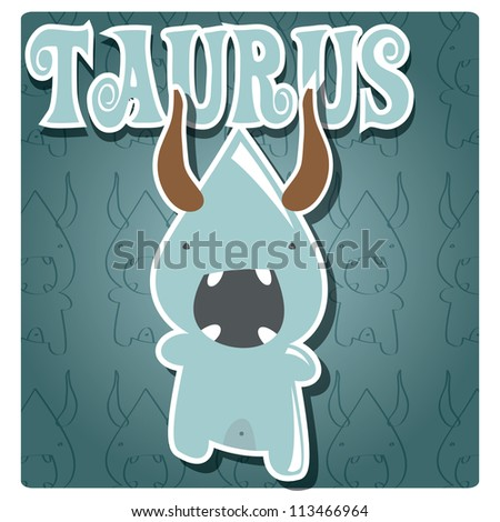 Zodiac sign Taurus with cute colorful monster, vector