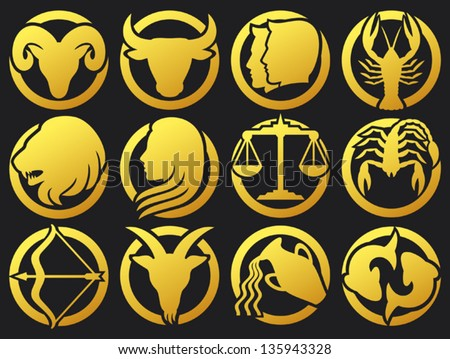 zodiac signs buttons (zodiac - black silhouettes, set of zodiac signs buttons, stylized icons of zodiac signs, set of horoscope symbols, astrology symbols set)