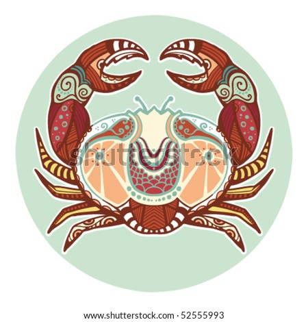 Zodiac signs - Cancer (colored) - stock vector