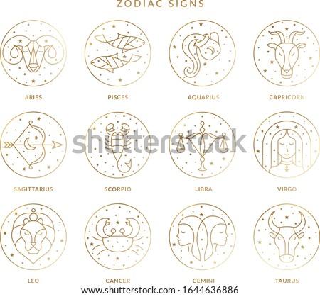 Zodiac Signs Collection in Vector featuring aries, taurus,gemini,cancer,leo,virgo,libra,scorpio,sagittarius,capricorn,aquarius and pisces.