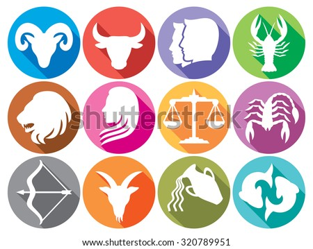 zodiac signs flat buttons (set of horoscope symbols, astrology icons collection)