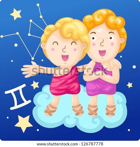 Zodiac signs - Gemini vector Illustration