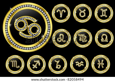 Zodiac signs, golden buttons with diamonds, vector illustration