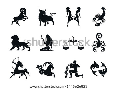 zodiac signs horoscope icons set. isolated astrological images in simple black and white style