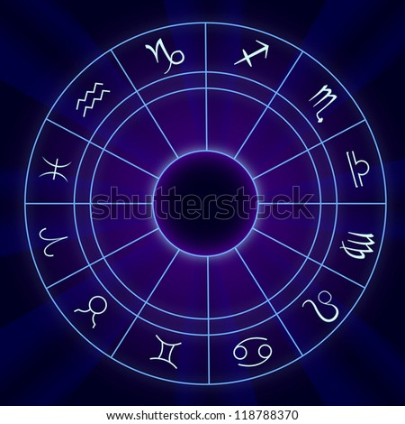Zodiac Signs Horoscope - Vector illustration On Blue Background