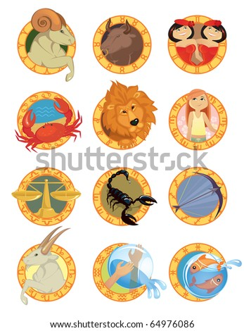 Zodiac signs in cartoon style