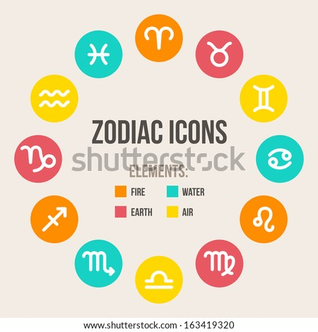 Zodiac signs in circle in flat style. Set of colorful round icons. Vector illustration.