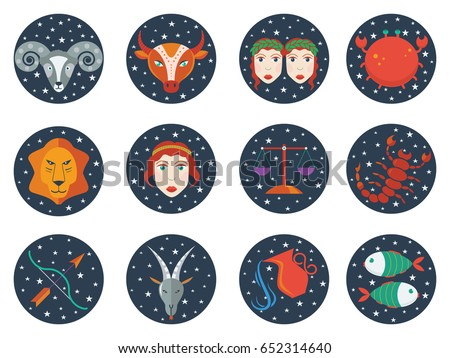 zodiac signs in circles with stars simple flat vector illustration