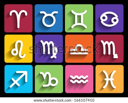 Zodiac signs in flat style. Set of colorful square icons