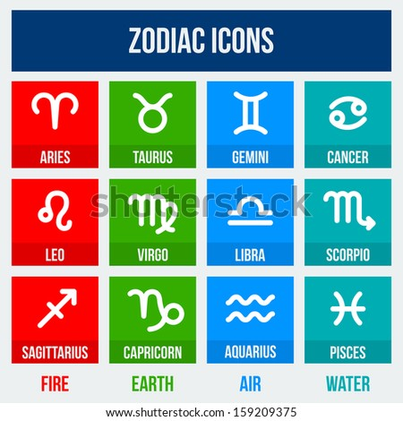 Zodiac signs in flat style. Set of colorful square icons.  Vector illustration.
