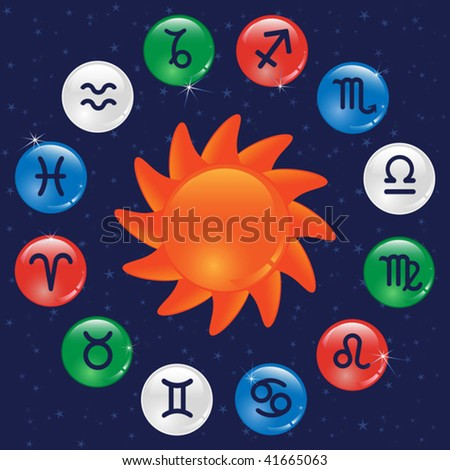 Zodiac signs in the color circles - stock vector