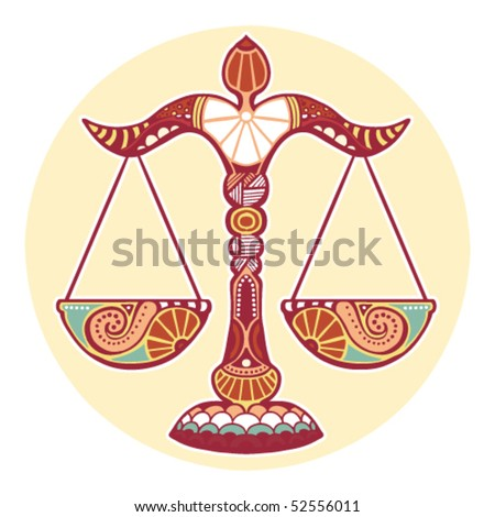 Zodiac signs - Libra (colored) - stock vector