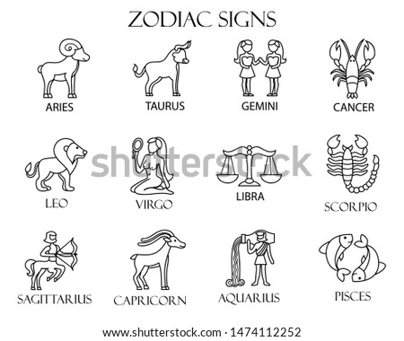 Zodiac signs outlined collection. Vector collection.