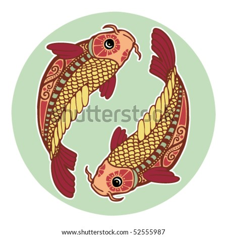 Zodiac signs - Pisces (colored) - stock vector