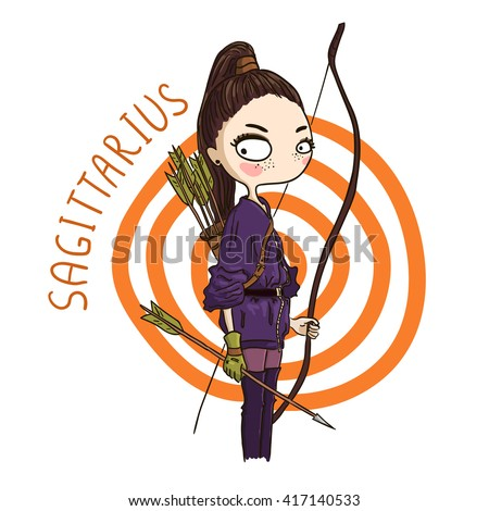 Zodiac signs Sagittarius. Vector illustration of the girl.
