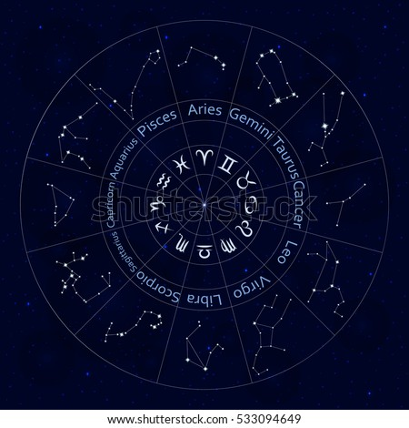 Zodiac signs. Set of  all horoscope constellation stars. Abstract space night sky background with stars and bokeh at the back. Round shape. Good for mobile applications, astrology, science template.