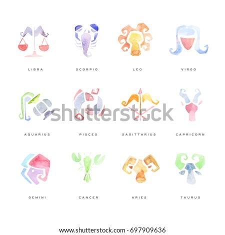 Zodiac Signs set of hand drawn watercolor vector Illustrations