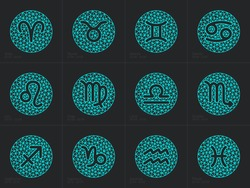Zodiac signs. Set round zodiac icons with captions - for web and print. Vector Illustration.