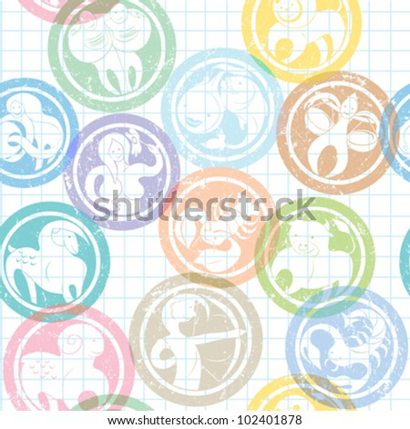 zodiac signs stamps pattern over lined math paper