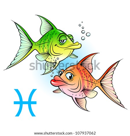 zodiac signs two cartoon fish