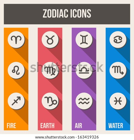 Zodiac signs with shadows in flat style. Set of colorful square icons.  Vector illustration.
