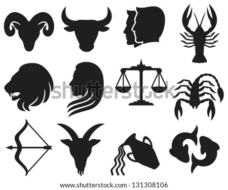 zodiac signs (zodiac - black silhouettes, set of zodiac signs, stylized icons of zodiac signs, set of horoscope symbols, astrology symbols set)