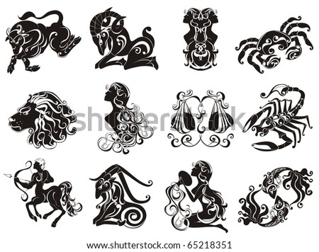 Zodiac Star Signs set . Vector set astrology sign.  Illustrations of the twelve horoscope zodiac star signs