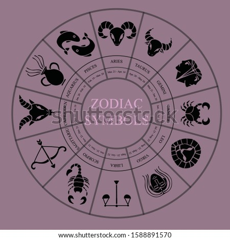 Zodiac symbols. Astrology horoscope signs, astrological calendar and zodiacs dates. Twelve constellation, zodiac birth month date label. Isolated vector illustration icons set
