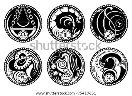 Zodiac symbols. Black&white rounded stylized zodiac icons.