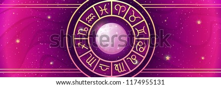 Zodiac symbols wheel on magic colors background. Asrtology prediction horizontal banner. Vector illustration