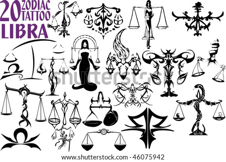 This is a typical Libra tattoo for men. The things around the zodiac sign