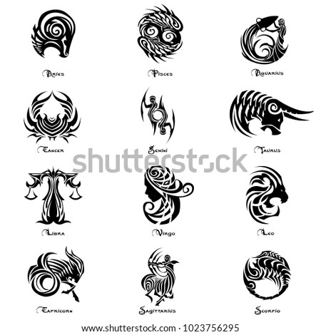 Zodiac tattoo vector set
