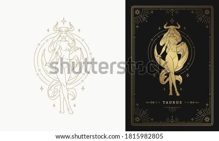 Zodiac taurus girl horoscope sign line art silhouette design vector illustration. Golden symbol with frame for feminine astrology card template or poster.