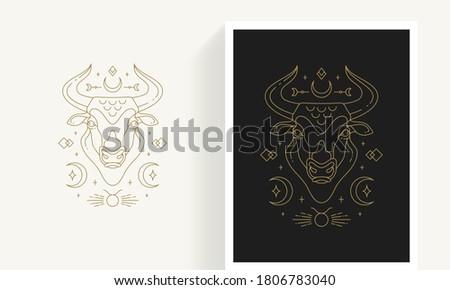 Zodiac taurus horoscope sign line art silhouette design vector illustration. Creative decorative elegant linear astrology zodiac taurus emblem template for logo or poster decoration.