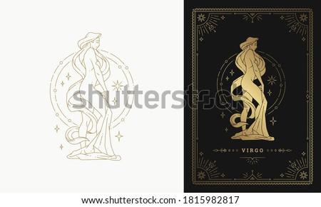Zodiac virgo girl horoscope sign line art silhouette design vector illustration. Golden symbol with frame for feminine astrology card template or poster. Stock fotó ©