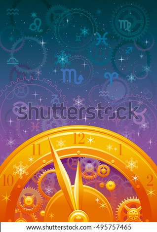 Stock Photo Zodiac wheel vector illustration, night sky background, astrology horoscope signs. Aries, Leo, Sagittarius, Taurus, Virgo, Capricorn, Gemini, Libra, Aquarius, Cancer, Scorpio, Pisces horoscopes icons.
