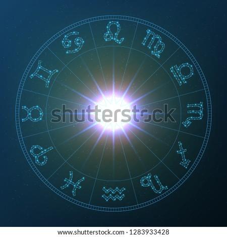 Zodiac Wheel, vector zodiac wheel with zodiac signs on a space background
